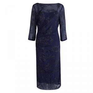 Dries Van Noten Navy Blue Embellished Draped Dress M