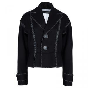 Dsquared2 Black Wool Metallic Edging Detail Blazer M