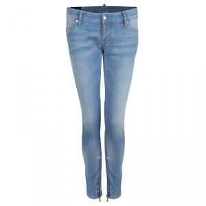 DSquared2 Indigo Light Wash Denim Zip Detail Skinny Jeans M