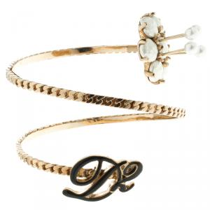 Dsquared Faux Pearl Enamel & Gold Tone Adjustable Armlet