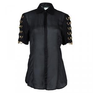 Dsquared2 Black Silk Gold D-Ring Embellishment Detail Sheer Blouse M