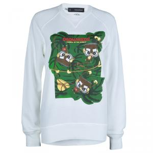 Dsquared2 White Graphic Print Sweatshirt S