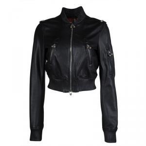 DSquared2 Black Leather Bomber Jacket M