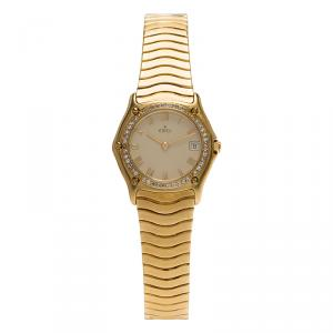 Ebel Mother of Pearl 18K Yellow Gold Diamond Sportwave Women's Wristwatch 27MM