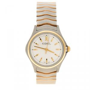 Ebel White Stainless Steel & 18k Yellow Gold Wave Lady 1216196 Women's Wristwatch 30MM