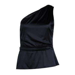 Elie Tahari Black Silk Draped One Shoulder Top M