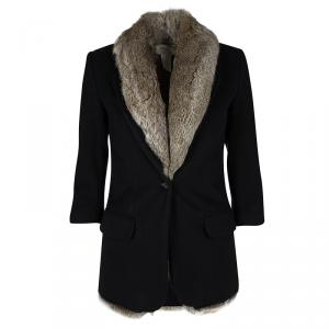 Elizabeth and James Black Wool Rabbit Fur Lined Coat XS