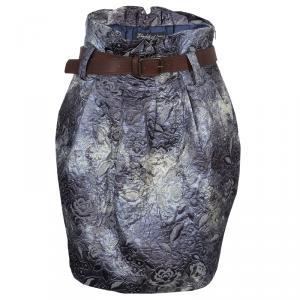 Elizabeth and James Grey Brocade Belted High Waist Skirt S