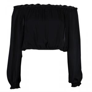 Elizabeth and James Sheer Black Off Shoulder Long Sleeve Cropped Silk Top XS