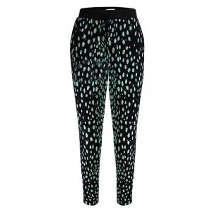 Elizabeth and James Black Printed Silk Elasticized Waist Pants S