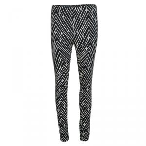 Emanuel Ungaro Monochrome Chevron Printed Tapered Trousers S