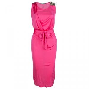 Emilio Pucci Pink Embellished Shoulder Detail Sleeveless Belted Midi Dress S