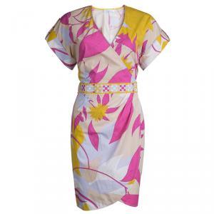 Emilio Pucci Multicolor Printed Cotton Dolman Sleeve Faux Wrap Dress M
