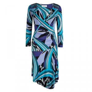 Emilio Pucci Blue Printed Jersey Embellished Dress M