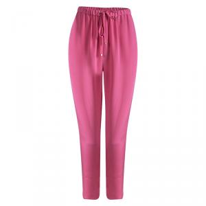Emilio Pucci Pink Silk Tie Detail Trousers L