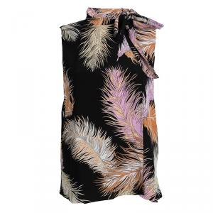 Emilio Pucci Black Feather Printed Silk Blouse M