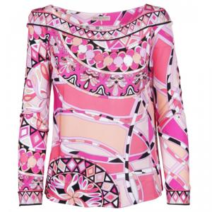 Emilio Pucci Pink Printed Knit Long Sleeve Top M
