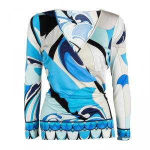 Emilio Pucci Multicolor Printed Silk Wrap Long Sleeve Top M