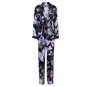 Emilio Pucci Black Butterfly Printed Silk Pajama Set S