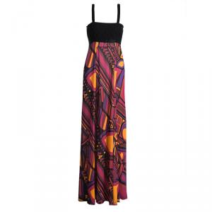 Emilio Pucci Multicolour Printed Silk Contrast Bodice Maxi Dress S