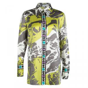 Emilio Pucci Multicolor Printed Silk Long Sleeve Button Front Shirt L
