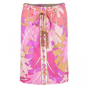 Emilio Pucci Multicolor Printed Belted A-Line Skirt S