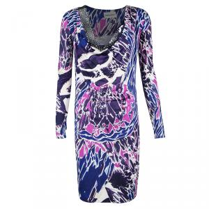 Emilio Pucci Multicolor Printed Silk Jersey Embellished Neck Detail Dress M