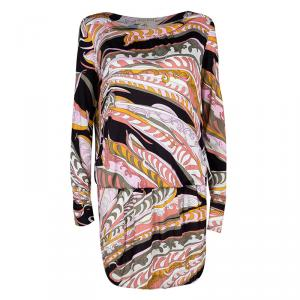 Emilio Pucci Multicolor Printed Drop Waist Detail Long Sleeve Dress M