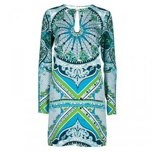 Emilio Pucci Multicolor Printed Long Sleeve Shift Dress S