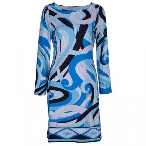 Emilio Pucci Blue Printed Silk Jersey Dress S