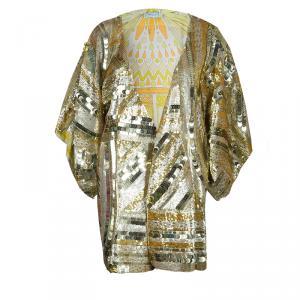 Emilio Pucci Gold Sequins Long Jacket S