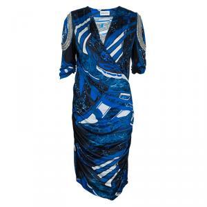 Emilio Pucci Blue Printed Embellished Sleeve Detail Ruched Side Knit Dress L