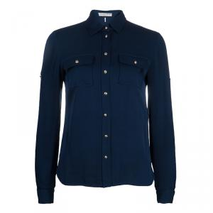 Emilio Pucci Blue Button Down Long Sleeve Silk Shirt S