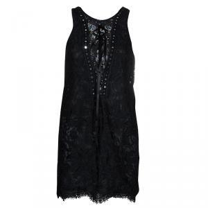 Emilio Pucci Black Lace Mirrorwork Tie-Up Detail Sleeveless Dress S