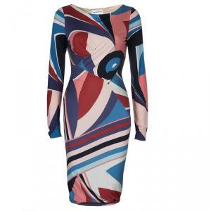 Emilio Pucci Multicolor Print Long Sleeve Dress M
