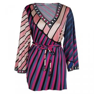 Emilio Pucci Multicolor Printed Knit Long Sleeve Belted Top L