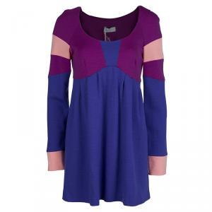Emilio Pucci Multicolor Knit Colorblock Wool Dress M