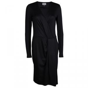 Emilio Pucci Black Knit Long Sleeve Draped Overlap Dress M