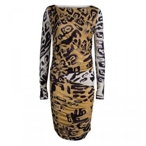 Emilio Pucci Animal Print  Ruched Long Sleeve Jersey Dress M