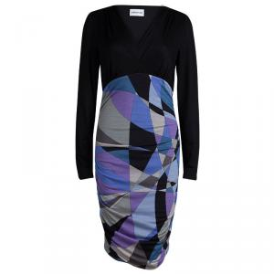 Emilio Pucci Multicolor Printed Knit Long Sleeve Ruched Dress M
