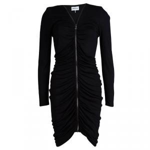 Emilio Pucci Black Knit Ruched Zip Front Dress M