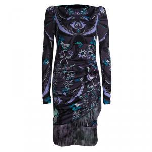 Emilio Pucci Purple Printed Knit Ruched Fringe Detail Dress M