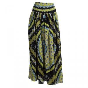 Emilio Pucci Multicolor Printed Silk Gathered Maxi Skirt S