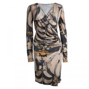Emilio Pucci Multicolor Printed Silk Knit Long Sleeve Draped Dress M