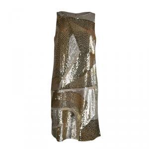 Emilio Pucci Gold Sequin Embellished Sleeveless Dress S
