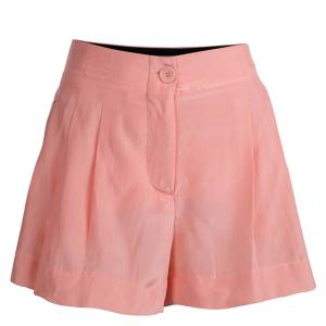 Emilio Pucci Pink Silk Pleated Shorts S
