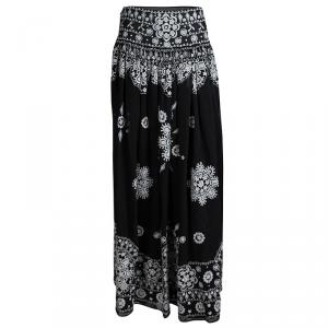 Emilio Pucci Black Embroidered Silk Gathered Maxi Skirt S