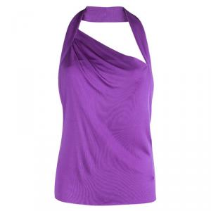 Emilio Pucci Purple Silk Backless Draped Top M
