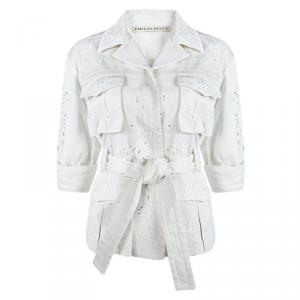 Emilio Pucci Off White Cutout Butterfly Embroidered Jacket S