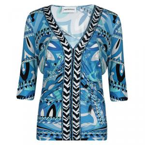 Emilio Pucci Multicolor Printed Draped Skirt And Top Set L